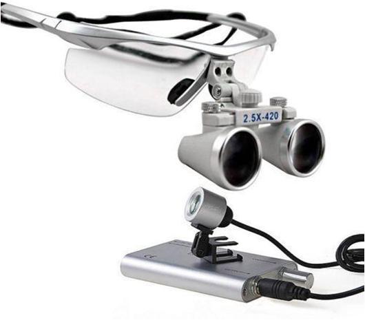 2.5X 420MM -Dental Magnifaying Loupe +LED -light